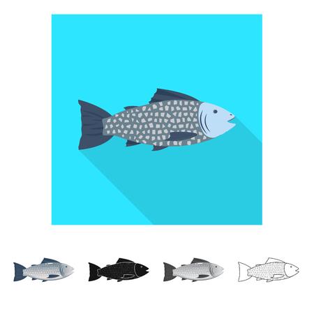 Vector design of fresh  and restaurant symbol. Set of fresh  and marine   vector icon for stock. Archivio Fotografico - 119849468