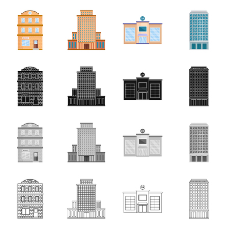Isolated object of municipal and center. Set of municipal and estate stock vector illustration.