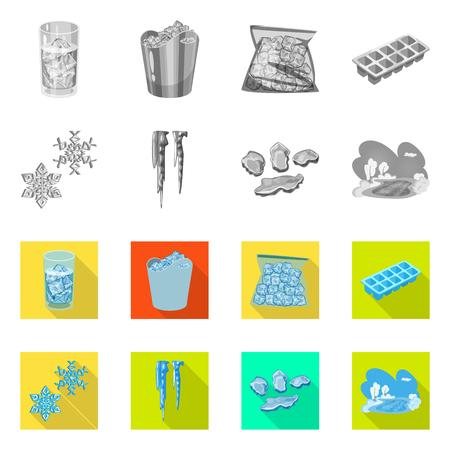 Objeto aislado de textura y signo congelado. Conjunto de textura e icono de vector transparente para stock.