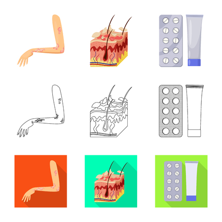Vector illustration of medical and pain. Collection of medical and disease stock symbol for web.