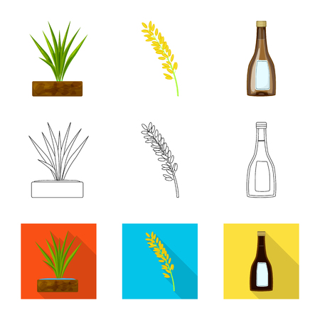 Vector design of crop and ecological symbol. Set of crop and cooking vector icon for stock.
