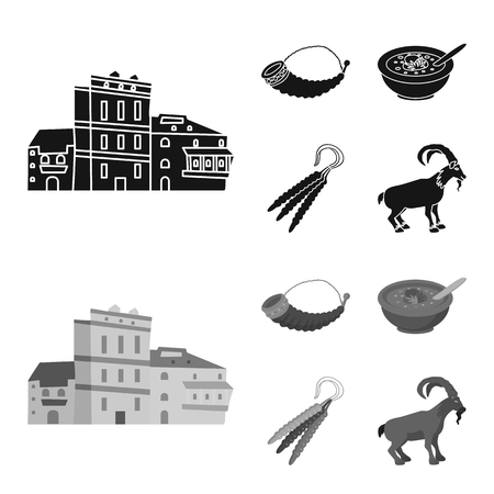 Isolated object of culture and sightseeing. Set of culture and originality stock vector illustration. Illustration