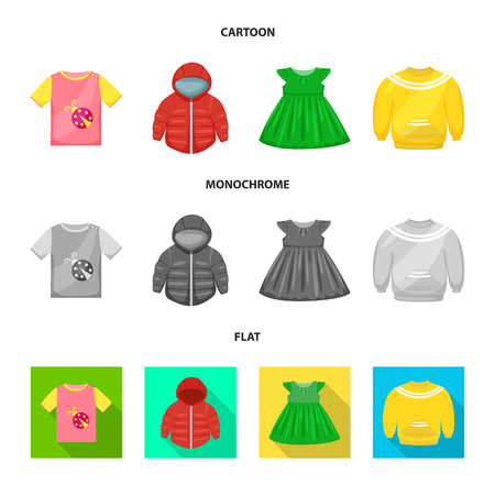 Vector illustration of fashion and garment symbol. Collection of fashion and cotton stock vector illustration.