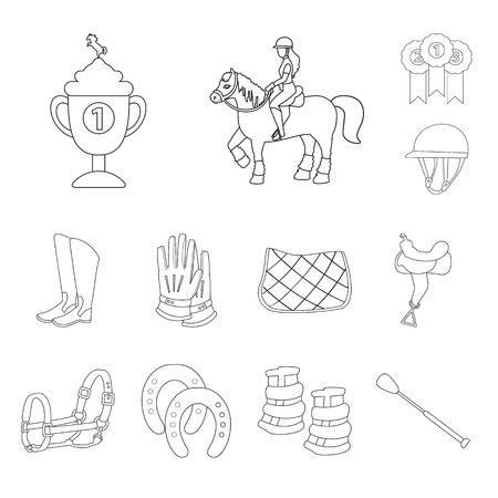 Vector illustration of horseback and equestrian. Set of horseback and horse stock symbol for web.