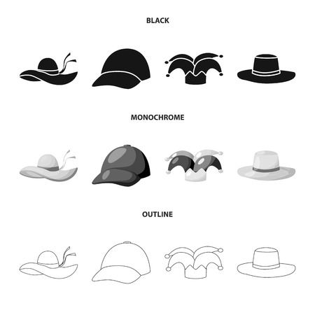 Isolated object of clothing and cap icon. Set of clothing and beret stock symbol for web.