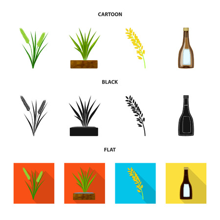 Vector design of crop and ecological sign. Collection of crop and cooking stock vector illustration.