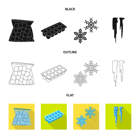 Vector design of texture and frozen symbol. Set of texture and transparent stock vector illustration. Vecteurs