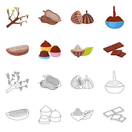 Vector design of food and yummy. Collection of food and brown   vector icon for stock. Illustration
