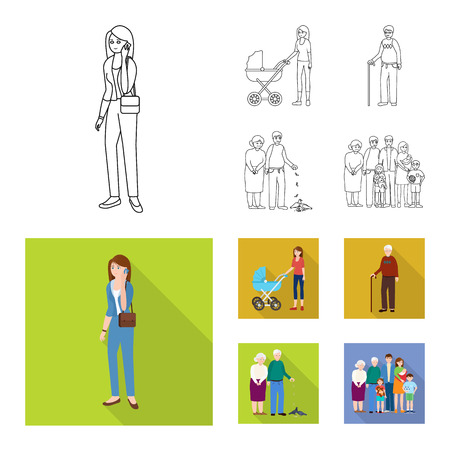 Vector design of character and avatar sign. Set of character and portrait stock vector illustration.