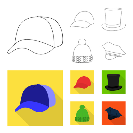 Isolated object of clothing and cap logo. Collection of clothing and beret stock symbol for web. Illustration