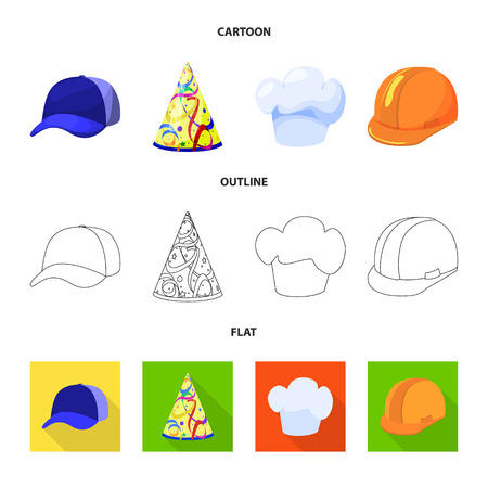 Vector design of clothing and cap icon. Collection of clothing and beret stock symbol for web.