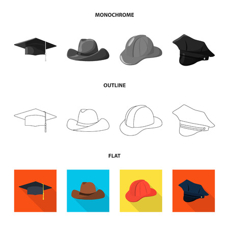 Vector design of clothing and cap icon. Set of clothing and beret stock vector illustration.