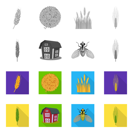 Vector illustration of agriculture and farming icon. Collection of agriculture and plant  stock symbol for web.  イラスト・ベクター素材