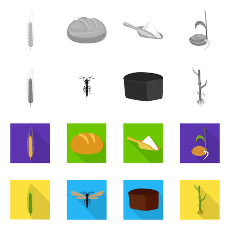 Isolated object of agriculture and farming icon. Set of agriculture and plant vector icon for stock.