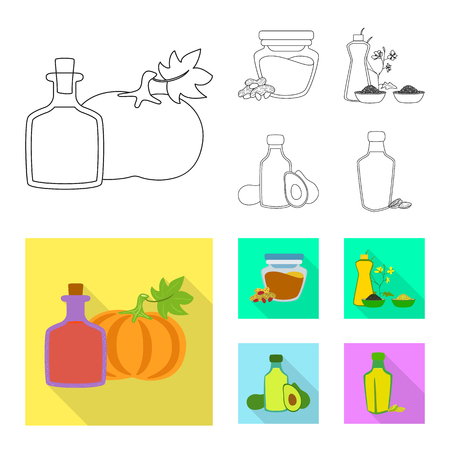 Vector design of healthy and vegetable sign. Set of healthy and agriculture vector icon for stock.