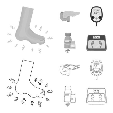 Na białym tle obiekt symbolu diety i leczenia. Kolekcja symbolu giełdowego diety i medycyny dla sieci web.
