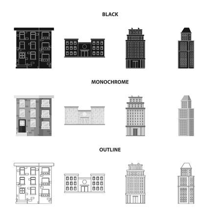 Objeto aislado del logotipo municipal y del centro. Conjunto de iconos vectoriales municipales y inmobiliarios para stock.
