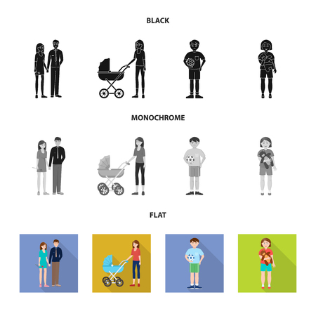 Isolated object of character and avatar sign. Set of character and portrait vector icon for stock.