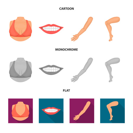 Vector illustration of body and part symbol. Collection of body and anatomy stock symbol for web.