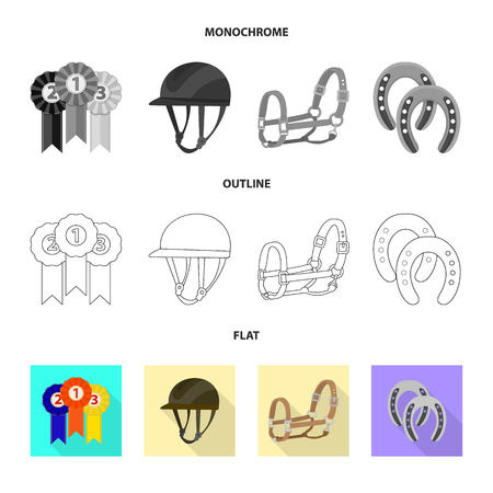 Vector design of equipment and riding icon. Set of equipment and competition vector icon for stock. Vettoriali
