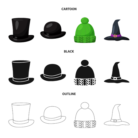 Vector illustration of clothing and cap symbol. Collection of clothing and beret vector icon for stock.
