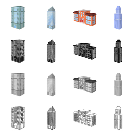 Isolated object of construction and building icon. Collection of construction and estate stock vector illustration.