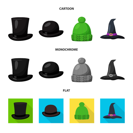 Vector design of clothing and cap logo. Set of clothing and beret stock symbol for web.