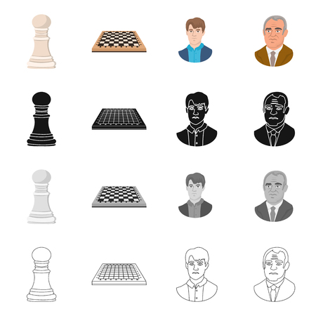 Vector illustration of checkmate and thin sign. Set of checkmate and target stock vector illustration. Stock Illustratie