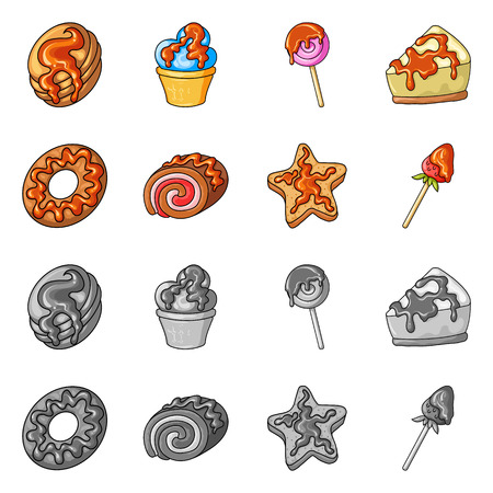 Isolated object of confectionery and culinary sign. Collection of confectionery and product stock symbol for web.