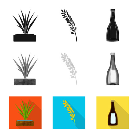 Isolated object of crop and ecological symbol. Collection of crop and cooking vector icon for stock. Иллюстрация