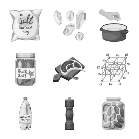 Isolated object of salt and food sign. Set of salt and mineral vector icon for stock.