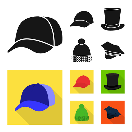 Vector illustration of clothing and cap sign. Collection of clothing and beret stock vector illustration.