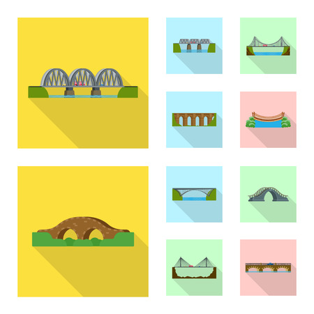 Vector design of bridgework and bridge sign. Set of bridgework and landmark stock vector illustration.