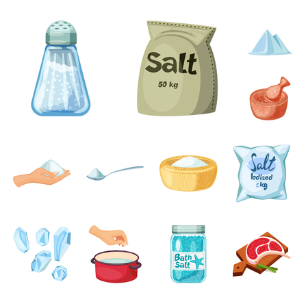 Isolated object of salt  and food sign. Set of salt  and mineral  stock vector illustration.