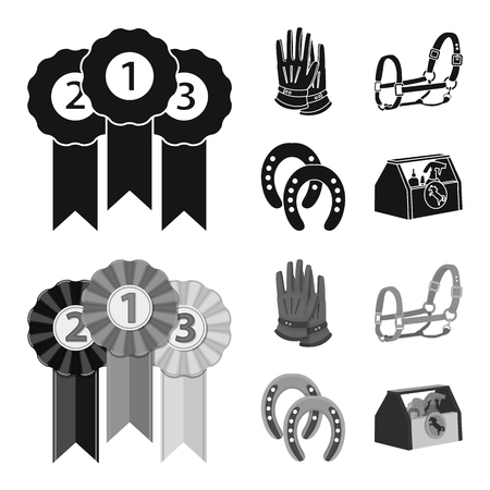 Vector illustration of equipment and riding sign. Collection of equipment and competition stock vector illustration.