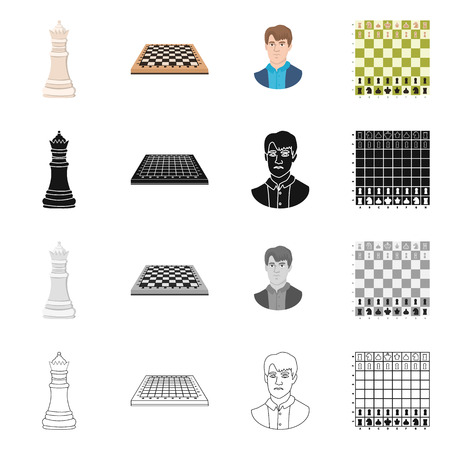 Vector illustration of checkmate and thin icon. Collection of checkmate and target vector icon for stock. Vettoriali