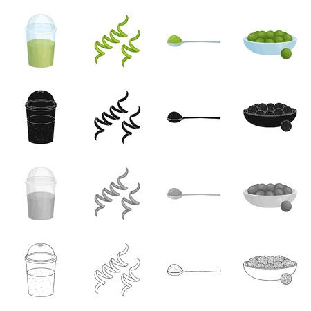 Vector illustration of protein and sea icon. Set of protein and natural stock vector illustration. Vector Illustratie