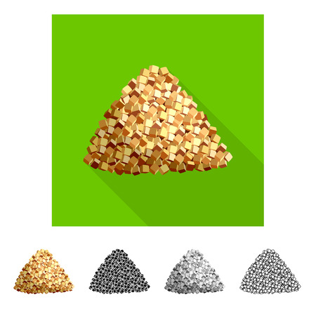 Isolated object of piece  and granulated icon. Set of piece  and jaggery stock vector illustration.