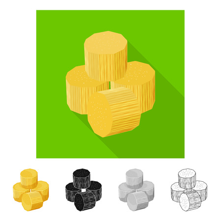 Vector design of piece and cube symbol. Set of piece and jaggery stock vector illustration.