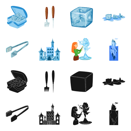 Vector illustration of texture  and frozen  symbol. Set of texture  and transparent  stock vector illustration.