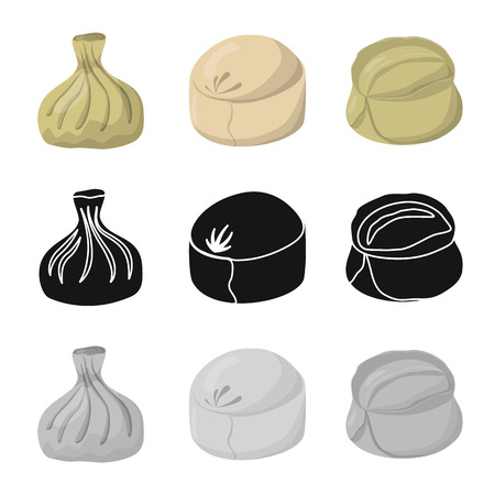 Vector illustration of products  and cooking sign. Set of products  and appetizer stock vector illustration.