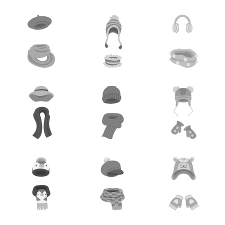 Isolated object of headwear and fashion sign. Collection of headwear and cold vector icon for stock.