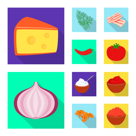 Vector illustration of taste and product logo. Collection of taste and cooking vector icon for stock.