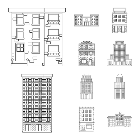Vector illustration of architecture and exterior  icon. Collection of architecture and city stock vector illustration.