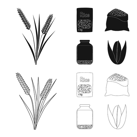Vector illustration of crop and ecological logo. Collection of crop and cooking vector icon for stock.
