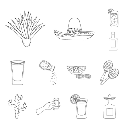 Vector design of Mexico and tequila logo. Collection of Mexico and fiesta vector icon for stock.
