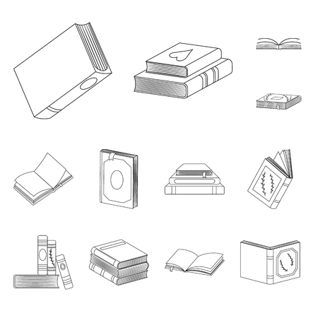 Vector illustration of study  and literature  sign. Set of study  and source vector icon for stock. Illustration