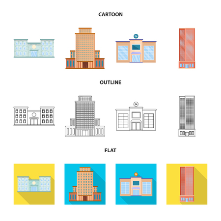 Vector illustration of municipal and center icon. Collection of municipal and estate stock symbol for web.
