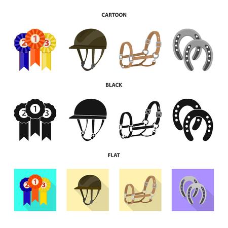 Vector design of equipment and riding sign. Set of equipment and competition stock vector illustration. Illusztráció