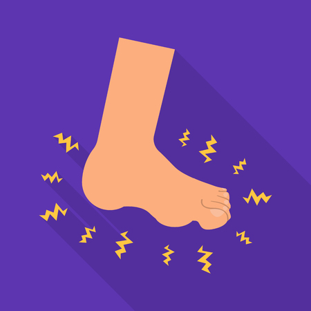 Vector design of foot  and flatfoot  icon. Set of foot  and anatomy  vector icon for stock.